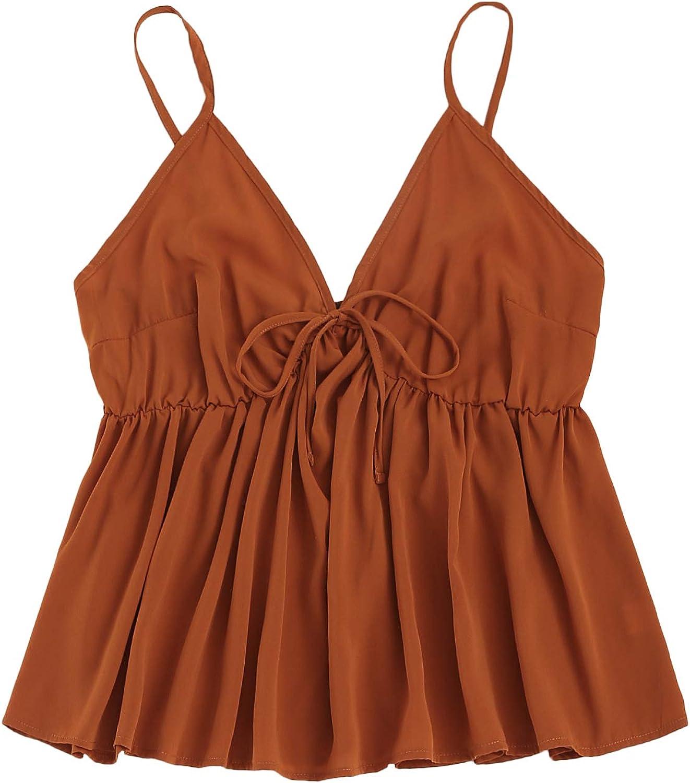 Romwe Women's Plus Size Sleeveless Knot Front V Neck Shirred Ruffle Peplum Cami Tank Tops