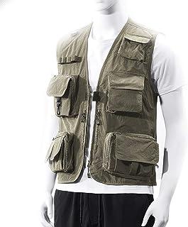 Men's vest Fishing vest Outdoor vest Thin vest Men's Quick-Drying vest (Color : Khaki, Size : XL)