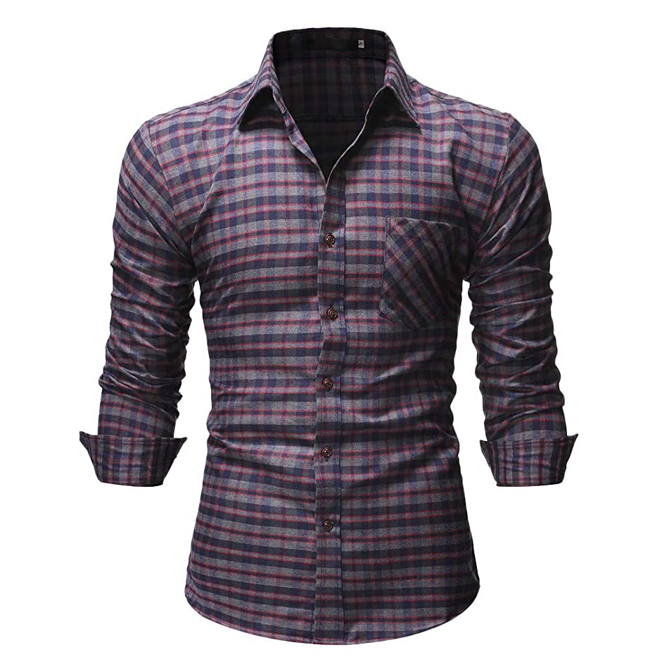 JJLIKER Mens Plaid Button Down Shirts Long Sleeve Tee Tops Regular Fit Standard-Fit Dress Shirts Business Casual Shirt