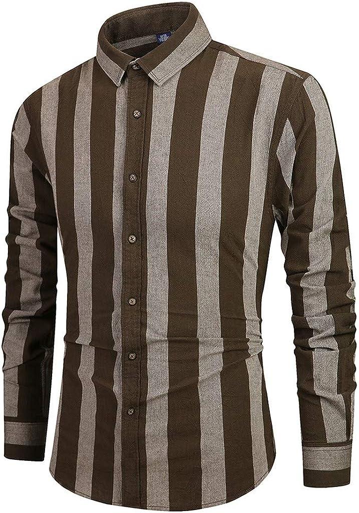 Men's Lattice Shirts Long Sleeve Button Turndown Collar Painting Casual Top