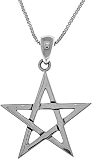Five Point Star Sterling Silver Pendant Necklace 18