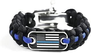 Police Lives Matter Flag Thin Blue Line Cops Paracord Survival Bracelet Adjustable Stainless Steel Shackle