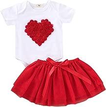 C&M Wodro Baby Girls 2 pcs Valentine's Day Love and Heart Tutu Skirt Set