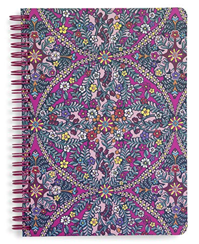 Vera Bradley Mini Spiral Notebook, 8.25 x 6.25 with Pocket and 160 Lined Pages, Kaleidoscope