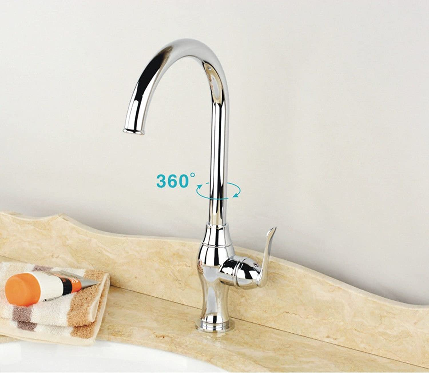 Commercial Single Lever Pull Down Kitchen Sink Faucet Brass Constructed Polished European Modern 360 Degree redating Basin Faucet Hot and Cold Kitchen Faucet Bathroom Sink Faucet