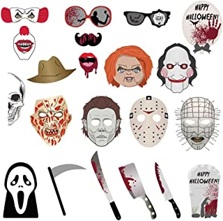 ATROPOS 22 Pcs Halloween Photo Booth Props Horror Event Party Decoration Mask Supplies