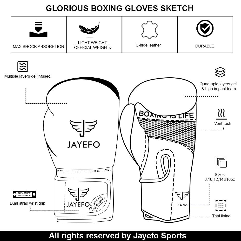 Jayefo Glorious Boxing Gloves Muay Thai Kick Boxing Leather Sparring Heavy Bag Workout MMA UFC Pro Leather Gloves Mitts Work for Men /& Women