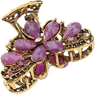 MOPOLIS Women Metal Hair Clip Clamp Anti Slip Flower Claw Grip Crystals Antique Gold | Color - Purple