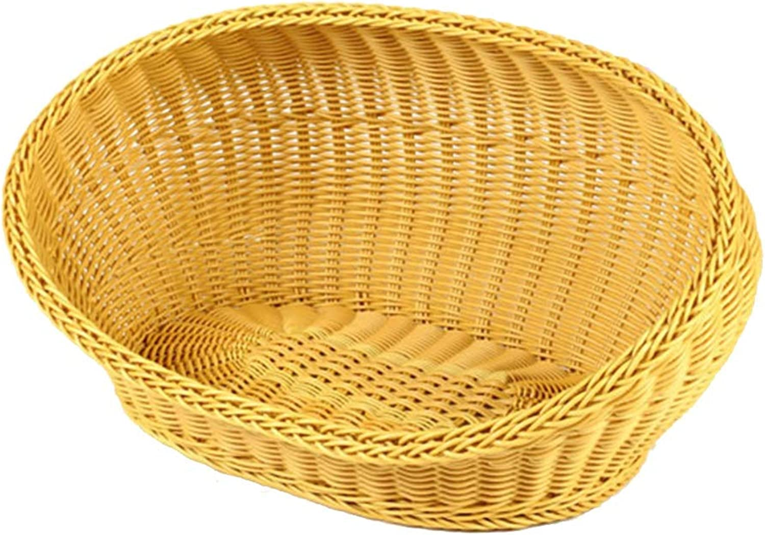 Qz Wicker Sleeping Couch  Oval Cat Dog Bed Basket, Indoor Outddor kennel, Yellow (Size   37×26×28cm)