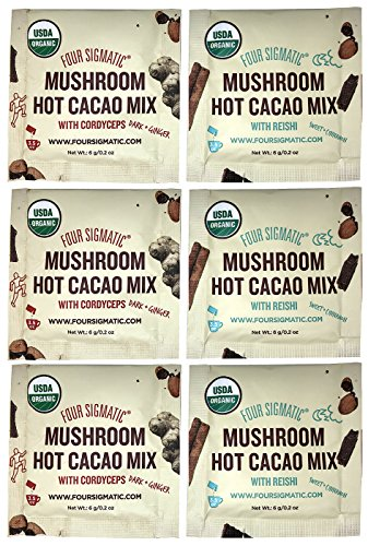 Four Sigmatic Mushroom Hot Cacao Mix Sampler Pack of 6 - Reishi and Cordyceps Hot Cacao Mix (3 Packets Each)