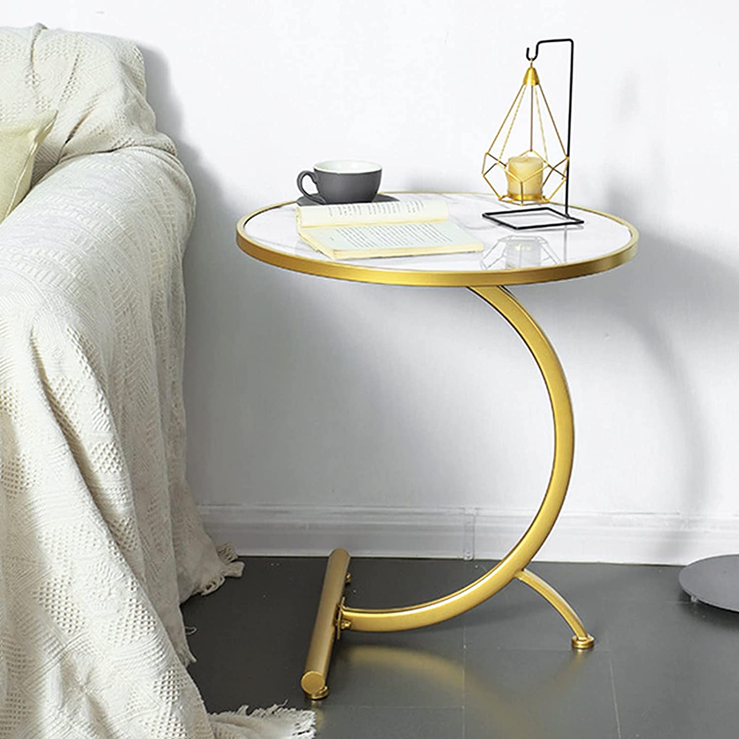 TZAMLI price C Import Side Table Round with Marble End Coffee Texture