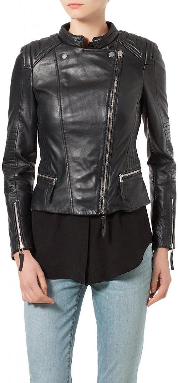Leather Women's Lambskin Leather Bomber Biker Jacket W096