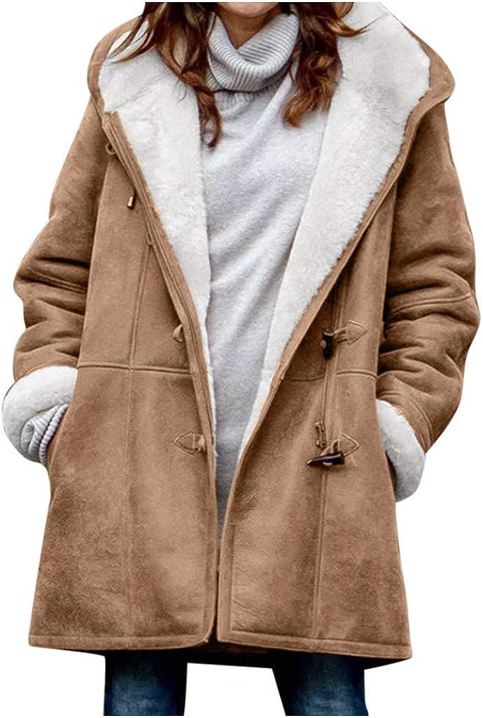 VEKDONE Fleece Coat for Women Warm Winter Sherpa Pullover Fuzzy Fleece Hooded Jackets Plus Size Long Overcoat Peacoat Outwear