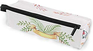 Glasses Case Husky Autumn Leaves Wreath Funny Pets Multi-Function Zippered Pencil Box Makeup Cosmetic Bag for Women