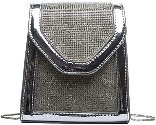 Tussy Ladies fashion small square bag casual shoulder bag wild Messenger bag dinner shoulder bag (Color : Silver, Size : 14 * 8 * 16cm)