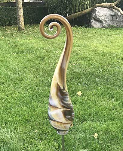Kleiner Gartenstecker Bogen mit Stab Mokka handgefertigt Glas Gartenstele