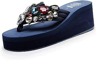 Ratoop Women Ladies Girls Solid Wedges Crystal Flip Flops Sandals Slippers Beach Shoes