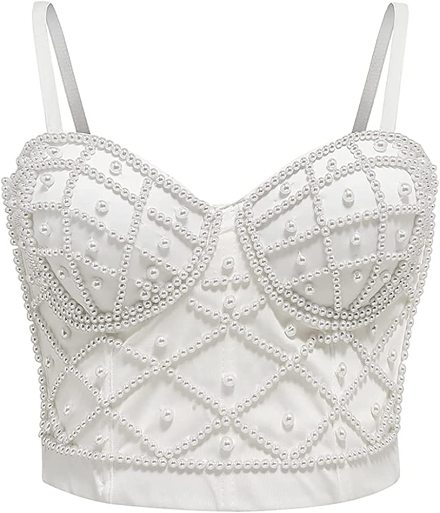 atokiss Women's Pearls Beaded Bustier Crop Max 57% OFF Up Clubwear Rapid rise Top Push