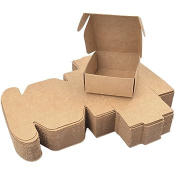 Cajas Cartón Kraft Marrón (50 Piezas) - 12x12x6cm Cajas Regalo Carton con Cinta Raso (5m) para Bodas, Baby Shower, Navidad, Cumpleaños, Despedida de Soltera y Fiestas para Galletas, Joyas, Magdalenas: Amazon.es: Oficina