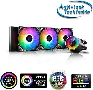 DeepCool Castle 360 RGB V2 - Sistema de refrigeración antipalanca, radiador de 360 mm, disipador de líquido RGB Rainbow Addressable 5 V Add RGB 3 Pines, Compatible con Intel 115X/2066 y AMD TR4/AM4