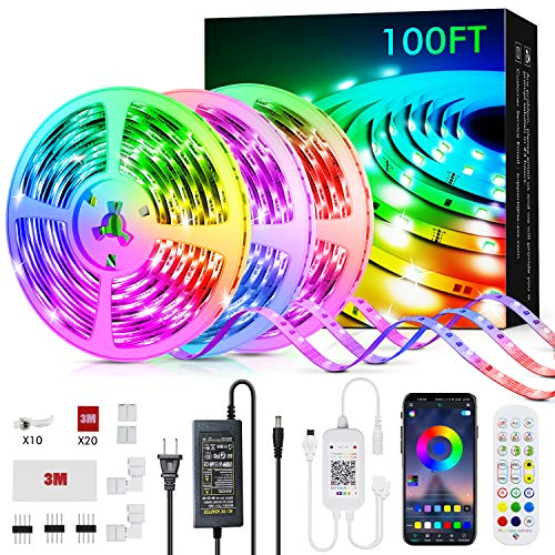 100ft Led Strip Lights Livingpai Color Changing LED Light Strips with Music Sync Remote Builtin Mic Bluetooth App Control RGB LED Lights for Bedroom Party Kitchen TV Home