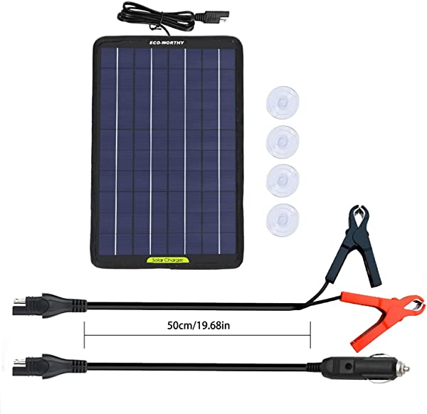 ECO WORTHY 12 Volts 10 Watts Portable Power Solar Panel Backup For Car Boat With Alligator Clip Adapter