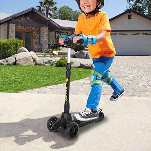 GOTOTOP Monopattino 3 Ruote, Pieghevole Monopattino Scooter per Bambini 3-12 Anni, Altezza Regolabile 76-87cm ,con LED Ruote, Fino a 50 kg(Nero)