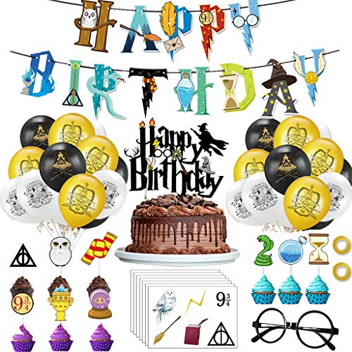 Amycute Magier Geburtstag Deko Zauberer Geburtstag Dekoration Alles Gute zum Geburtstag Banner, Wizard Gläser, Cake Toppers,Tattoo Aufkleber - Kinder Jungen Kindergarten Geburtstagsdeko.