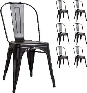 KOSMI - Lote de 6 sillas de metal negro estilo industrial negro mate FÁBRICA