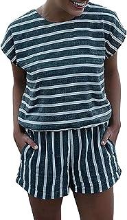 Shallood Donna Jumpsuit Monopezzi Tutine Manica Corta Casual Pantaloncini Estivo a Righe Jumpsuit Playsuit da Spiaggia Vac...