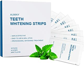 Professional Teeth Whitening Strips, 20 Treatments 40 Strips Whiten Your Teeth With 3D Dental Hydrogen Peroxide White Strips, Non-Slip Dry Strips, Removes Coffee, Tea & Tobacco Stains