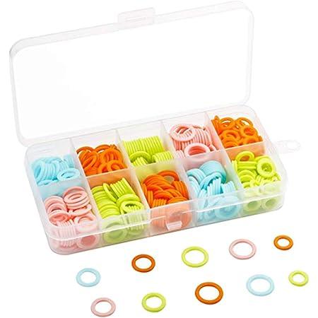 HEALLILY Anneaux de point de bricolage tricoté marqueur de point de tricotage compteur de points de tricotage en plastique cercle avec boîte pour les femmes (couleur aléatoire) 120pcs