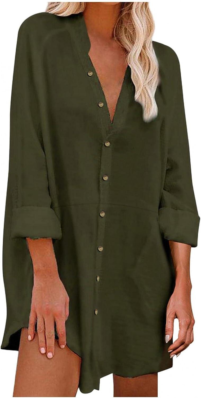 Womens Button Down Shirt,Women's Cotton Linen Tops V Neck Short Sleeve Fashion Graphic Print Blouse Shirts Casual Tops