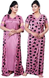 3dbe70e1a8 Bailey Free Size Women's Satin Night Gown/Nightwear/Nightdress/Sleepwear 2  PCs Set
