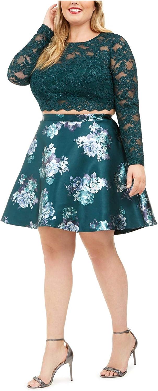 City Studio Womens Plus Crop Floral Cocktail Dress