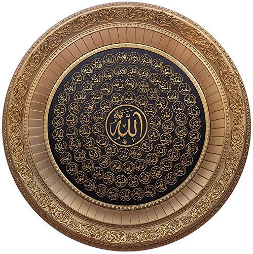 Islamische Home Decor rund Wandschild Rahmen 99Namen von Allah Esma Asma 56cm, Polyresin, gold, 56 x 56cm
