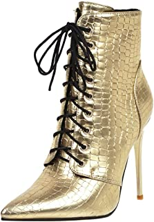 Lace Up Ankle Booties Women Animal Print Boots Winter Thin High Heel Casual Leopard Short Tube Shoes Sunmoot-Shoes