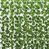 Tebery 157Ft 48M -24 Pack Artificial Ivy Leaf Garland Plants Vine Hanging Wedding Garland English Ivy Home Kitchen Garden Office Wedding Wall Decor for Wedding Party Garden Wall Decoration