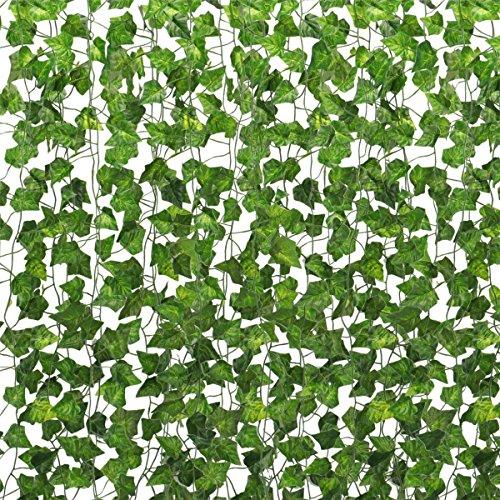 Tebery 24 Stück 157.5 Ft (48M) Efeu Künstlich Efeu Hängend Girlande - Efeugirlande Künstlich Künstliches Efeu Hochzeit für Büro, Küche, Garten, Party Wanddekoration