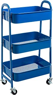 AGTEK Makeup Cart, Movable Rolling Organizer Cart,3 Tier Metal Utility Cart, Aristocratic Blue