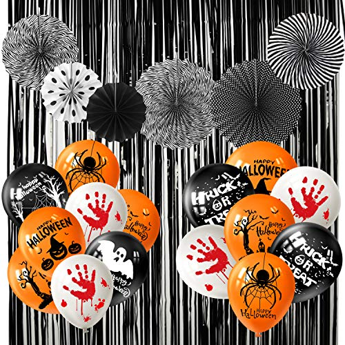 FEPITO 26 PCS Decorazioni per Feste di Halloween Set Include Palloncini di Halloween Ventagli di Carta appesi in Bianco e Nero e Tende in Lamina di Halloween per la Decorazione di Halloween