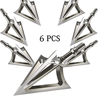 JIANZD Archery Broadheads 100 Grain Fixed Blades Stainless Steel 6 Pcs Hunting Broadheads for Crossbow Recurve Bow and Compound Bow