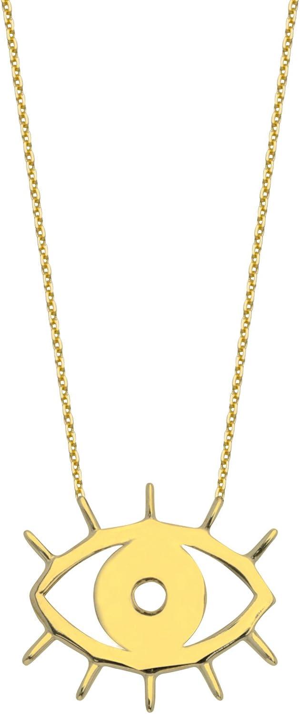 Gold Necklace, 14Kt Gold Adjustable Cut Out Evil Eye Necklace