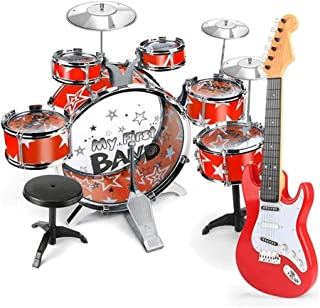 WZHZJ Beginner Musical Instrument Toy Set,6 Drum Set, 3 Cymbal Child Kit with Stool Sticks and Electronic Guitar,Birthday ...