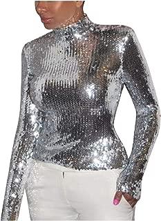 Howely Women Mock Neck Shimmer Glitter Sexy Nightclub Style T-Shirt Top