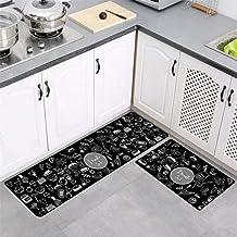 Kitchen Mat Black and White Ethnic Style Strip Entrance Doormat Bedroom Floor Mat Hallway Area Carpet Anti-Slip Water Abso...