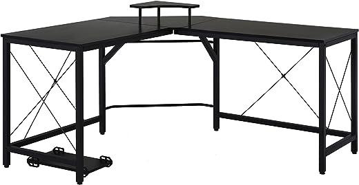 HOMCOM Computertisch, L-förmiger Eckschreibtisch, Schreibtisch, Bürotisch, Spanplatte+Metall, Schwarz, 150 x 150 x 76 cm