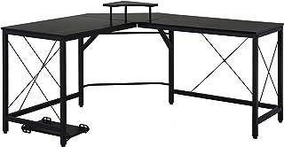 HOMCOM computertafel, L-vormig hoekbureau, bureau, kantoortafel, MDF + metaal, zwart, 150 x 150 x 76 cm