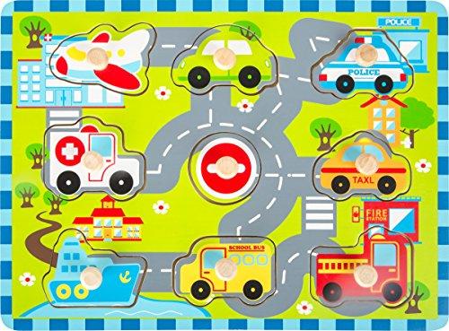 small foot 10505 Houten houten set met acht verschillende soorten vervoersmiddelen, speelgoed