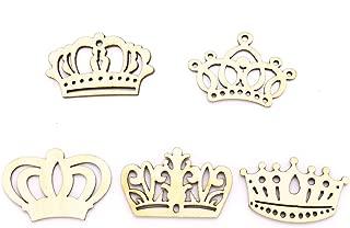 JETEHO 100 Pcs Assorted Crown Shape Hollow Out Wood Cutouts DIY Art Craft Embellishments Ornaments